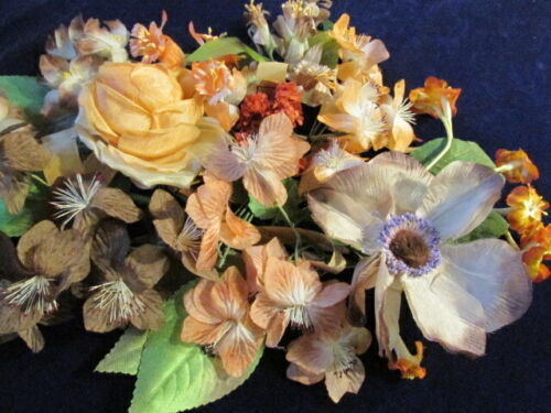 """Vintage Millinery Flower Collection Brown Rust Melon 1-5"""" German H2962"""