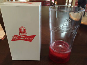 TWO BUDWEISER RED LIGHT GOAL-SYNCED GLASSES- SYNC NHL TEAMS