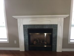 Fireplace surround and mantle.