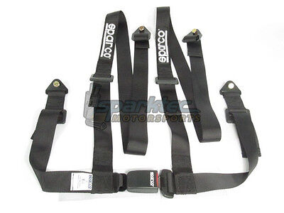 Sparco Racing Seat Belt Safety Harness Street Tuner Black 2-Inch 4-Point