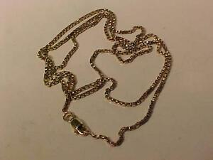 "#3113- 10k YELLOW GOLD BOX LINK CHAIN 24"" LONG LOBSTER CLAW CLOSURE -GREAT VALUE AT JUST $175.00 ACCEPT EBANK TRANSFER"