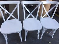 3 NEW WHITE PLASTIC CHAIRS
