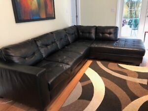 5-seater leather sectional used sofa
