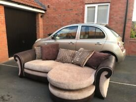 dfs 4 Seater Lounger + Large Swivel Chair + Half moon (lounger can be both left and right)