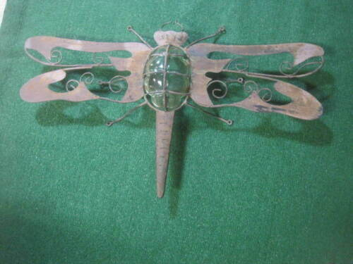 """VTG Large Metal Dragonfly Wall Decor Yard with GLASS Votive UNIQUE! 27"""" x 16"""""""