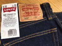 Levi's 505 Straight fit Jeans x 2 pairs, Brand new unworn, labels still attached. 32 waist, 32 Leg