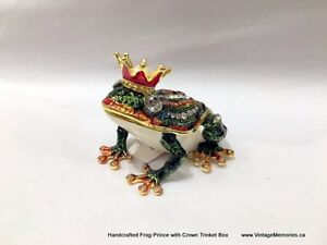 Brand New Handcrafted Bejeweled Frog horse Trinket Boxes OnSale