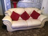 Three piece suite for sale; one, two and three seater in cream leather.