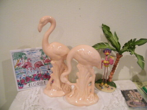 VTG TWO SOFT PINK GLAZED FLAMINGO POTTERY 1-STANDING UPRIGHT, 1- LOOKING DOWN