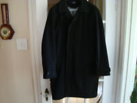 MEN'S SIMONS BLACK ALL WEATHER COAT WOOL ZIP OUT LINING