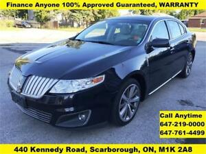 2009 Lincoln MKS AWD FINANCE 100% APPROVED WARRANTY 89,592 KM