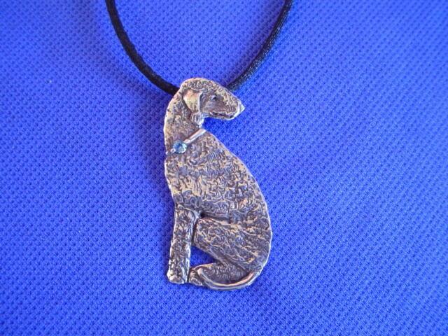 Original Sterling Silver Deco Bedlington Terrier necklace by Cindy A. Conter