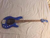Sterling Music Man Model SB14. 4 String Bass Guitar - Blue