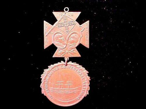 1908 CSA UCV Bronze 2Pc Badge BIRMINGHAM Shows CSS ALABAMA SHIP 18th Reunion