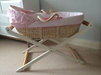 Pretty Butterfly Fields Design Moses Basket & Wooden Stand Excellent Condition