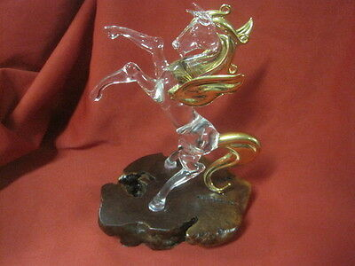PEGASUS Rearing Figurine Sculpture of Hand Blown Glass with Gold Gilding & Base!