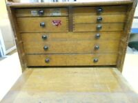 Vintage 8 Drawer dovetailed Engineers Jewellers Cabinet Chest with lockable front flap