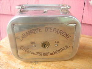 Vintage 1950s Petite banque d'épargne en métal