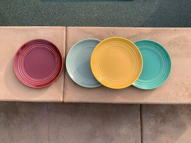 """4 Bauer Ring Ware 9.5"""" Dinner Plates"""