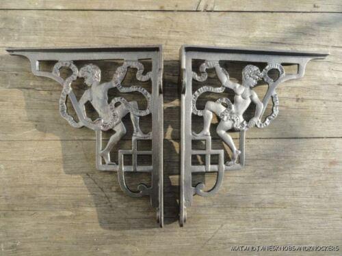 PAIR OF ANTIQUE STYLE CHERUB CAST IRON SHELF BRACKETS CISTERN BRACKET SHELVING