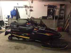 Two Matching 1998 Polaris 600 RMK's with Trailer