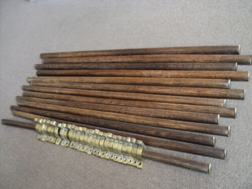 SET OF 13  VINTAGE OAK  STAIR RODS AND 26 BRACKETS