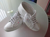 Superga Silver Shoes - size 38 - ankle high - unworn