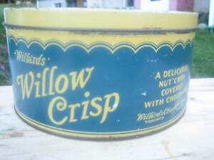 Boîte métallique de biscuits Willards Willow Crisp (1930s)