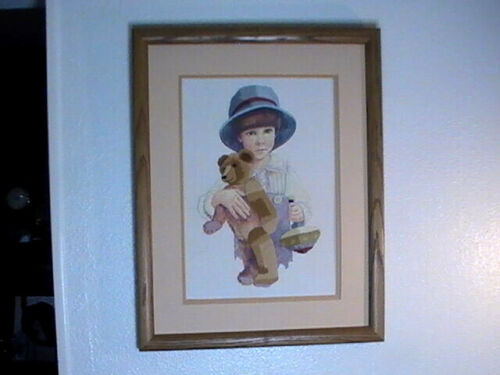 Boy Teddy Bear Completed Needlepoint Printed Embroidery Cross Stitch 19.5x16