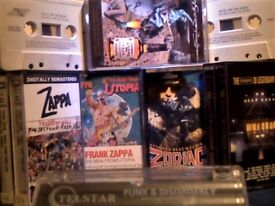 FRANK ZAPPA x3, ZODIAC MINDWARP + MANY OF BIGGEST NAMES ROCK COMPILATION DOUBLE CASSETTE TAPE ALBUMS