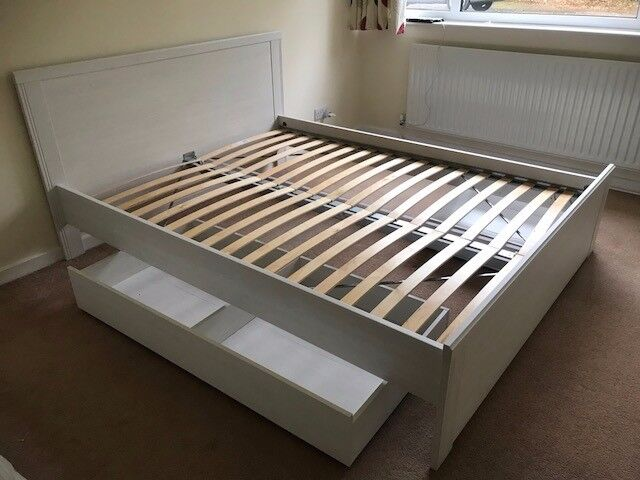 Standard King Ikea S Brusali Bed Frame Mattress 2 Storage Box