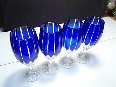 4 Ajka Castille Iced Tea / Water Goblets ~ Beautiful Blue w Tags ~ holidays comn Beautiful Blue Water