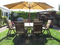 Garden table and chairs PLUS CUSHIONS AND PARASOL