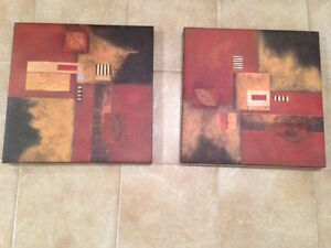For Sale: Set of 2 Abstract Pictures on Canvas