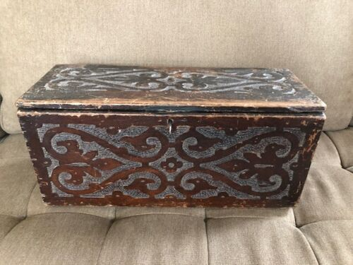 Antique 17th or 18th Century Small Carved Wood Coffer Lidded Box Miniature Chest