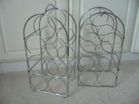 pair chrome metal wine 7 bottle storage racks & carry handle £1.50 the pair - southbourne
