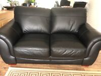 2x black leather sofas like new couple months old