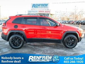 2017 Jeep Cherokee 4WD Trailhawk, Dual-Pane Sunroof, Remote Star