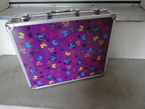 Purple butterfly printed storage suitcase container box decor London Ontario image 1