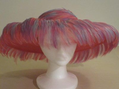 Jack McConnell red feather hat wide brim feathers pink/lilac/aqua + original box