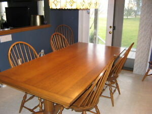 London Beautiful Solid Quarter Cut Tiger Oak Dining Table And 6 Chairs