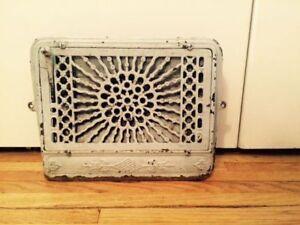 Antique Floor/Wall Register Grate with damper/louvre