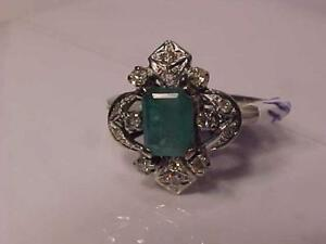 3321-CALLING EMERALD/DIAMOND LOVERS! APPRAISED $1650.00 SELLING $625.00 18K W/Gold-Size 5 3/4-FREE Express S/H  CANADA