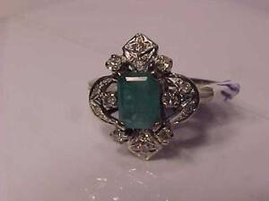 33321-CALLING EMERALD/DIAMOND LOVERS! APPRAISED $1650.00 SELLING $625.00 18K W/Gold-Size 5 3/4-FREE Express S/H  CANADA