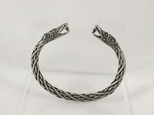 Small Viking Dragon Head Solid Pewter Bracelet, Norse, Celtic, Reenactment