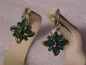 #3524-lOVELY EMERALD/DIAMOND earrings with appraisal  $1350.00 sell $445.00 Appraisal included  Free s/h in Canada