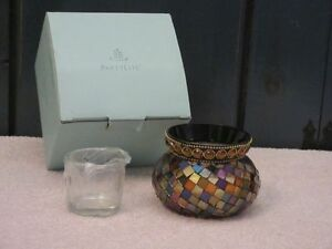 PartyLite Global Fusion Votive Holder ~ Mosaic Glass Tile