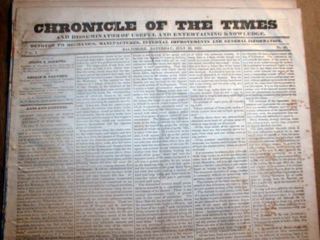 Original 1831 Baltimore Chronicle MARYLAND pre-Civil War newspaper 183 years old