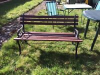 Garden bench with cast iron ends