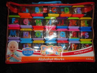 Fisher Price Peek A Blocks Alphabet, Letters A-Z Complete Set w/ Zipper Case